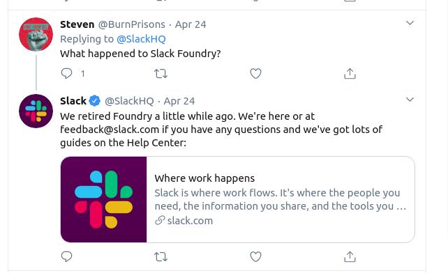 Slack Retires Foundry